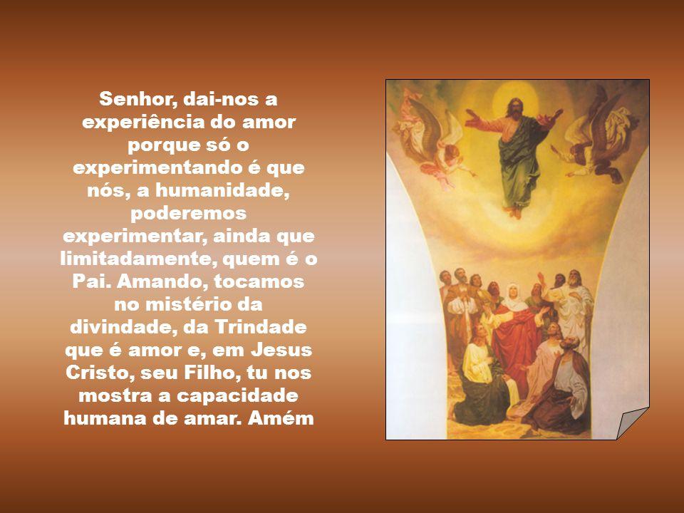 Senhor, dai-nos a experiência do amor porque só o experimentando é que nós, a humanidade, poderemos experimentar, ainda que limitadamente, quem é o Pai.