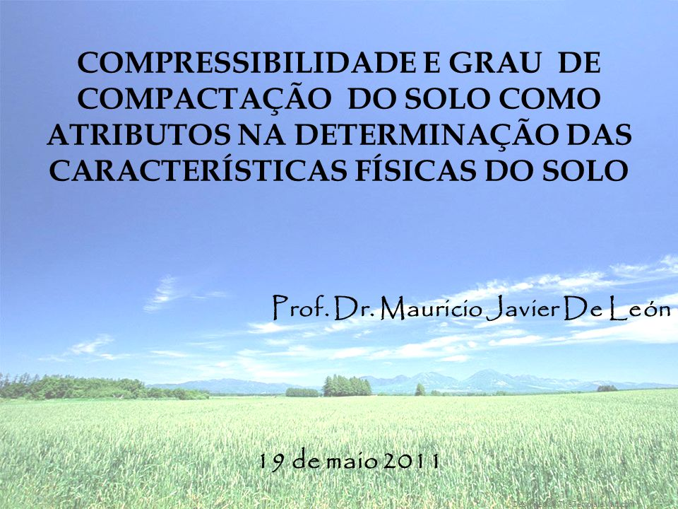 Prof. Dr. Mauricio Javier De León 19 de maio 2011