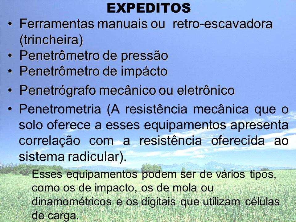 Ferramentas manuais ou retro-escavadora (trincheira)