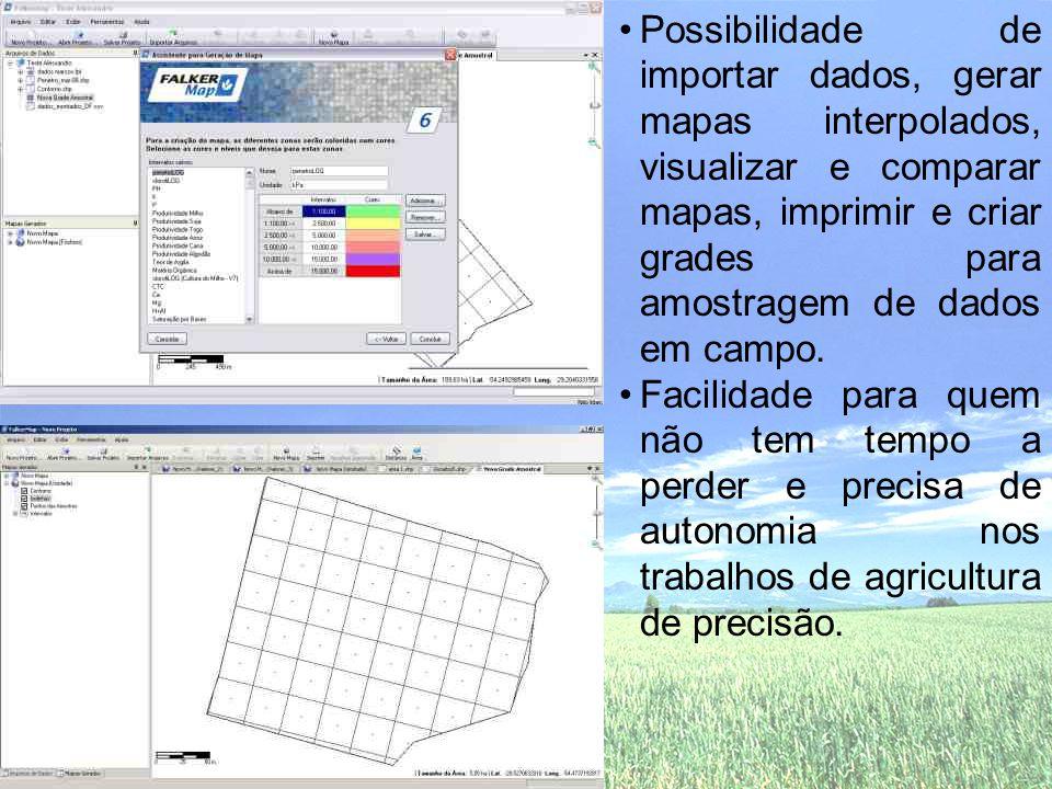 Possibilidade de importar dados, gerar mapas interpolados, visualizar e comparar mapas, imprimir e criar grades para amostragem de dados em campo.