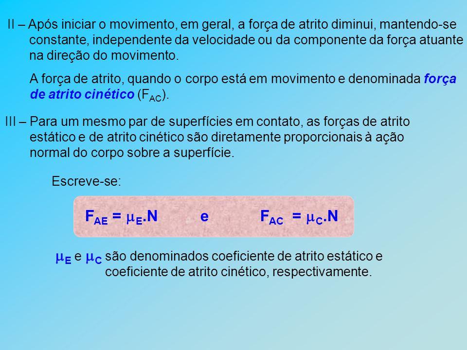 E e C são denominados coeficiente de atrito estático e