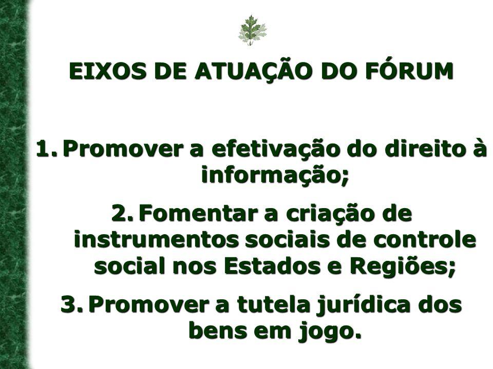 EIXOS DE ATUAÇÃO DO FÓRUM