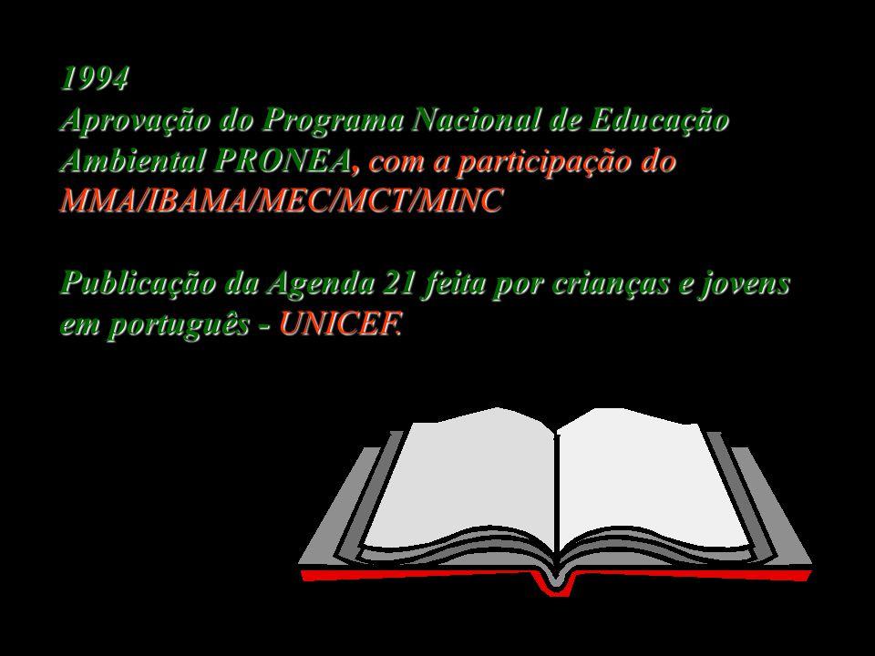 1994 Aprovação do Programa Nacional de Educação Ambiental PRONEA, com a participação do MMA/IBAMA/MEC/MCT/MINC.