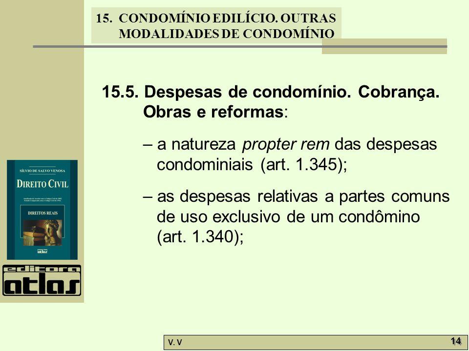 15.5. Despesas de condomínio. Cobrança. Obras e reformas: