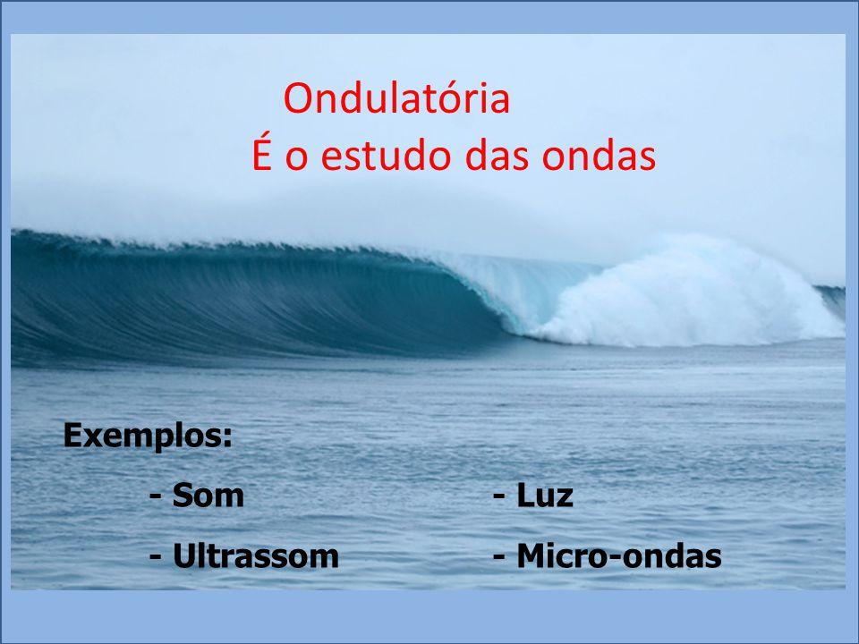 Ondulatória É o estudo das ondas Exemplos: - Som - Luz