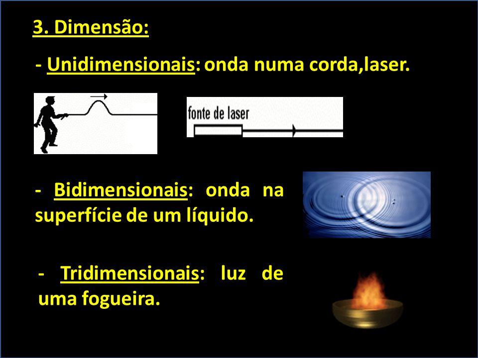 3. Dimensão: - Unidimensionais: onda numa corda,laser. - Bidimensionais: onda na superfície de um líquido.
