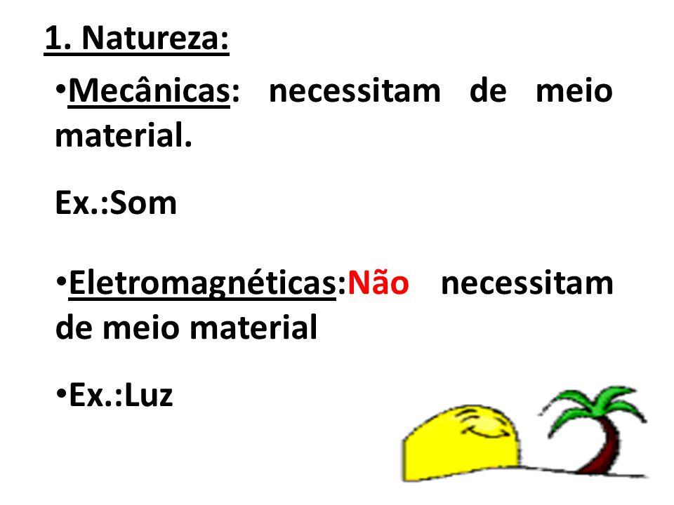 1. Natureza: Mecânicas: necessitam de meio material. Ex.:Som. Eletromagnéticas:Não necessitam de meio material.