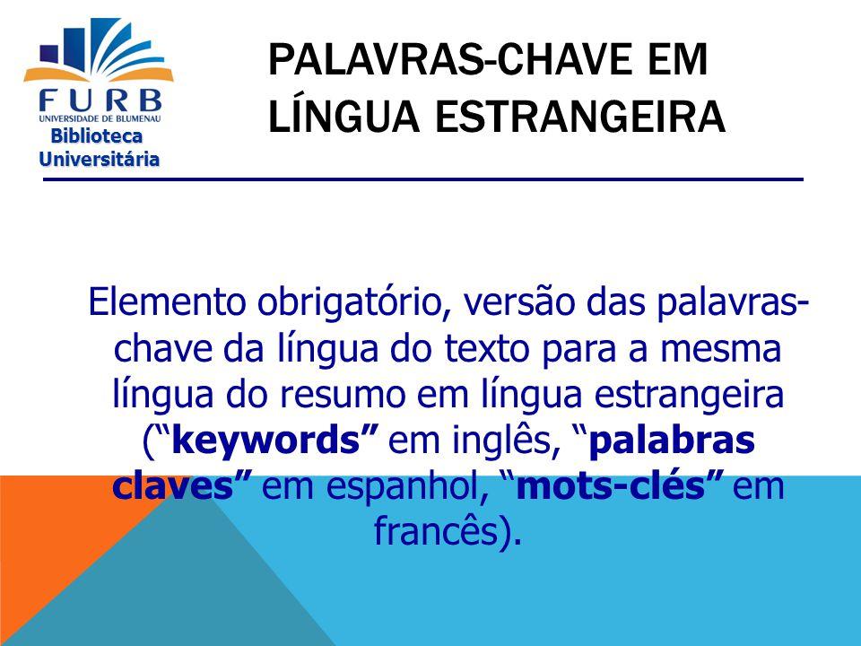 Palavras-Chave em Língua Estrangeira