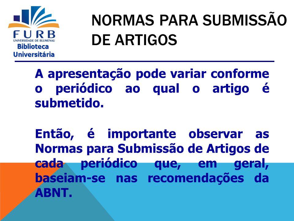 NORMAS PARA SUBMISSÃO DE ARTIGOS