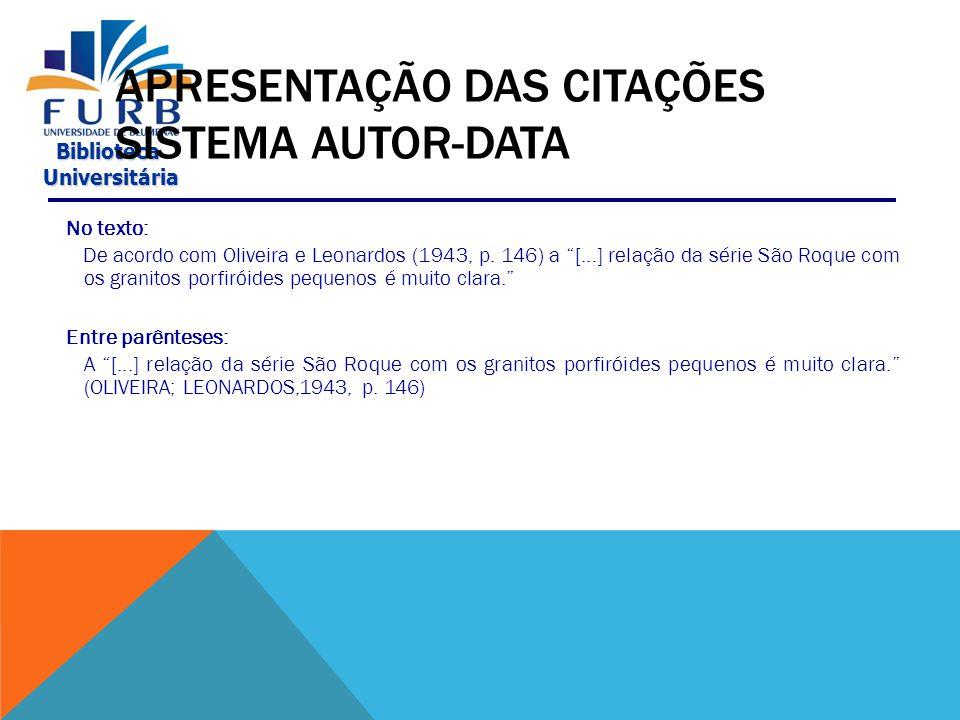 APRESENTAÇÃO DAS CITAÇÕES SISTEMA AUTOR-DATA