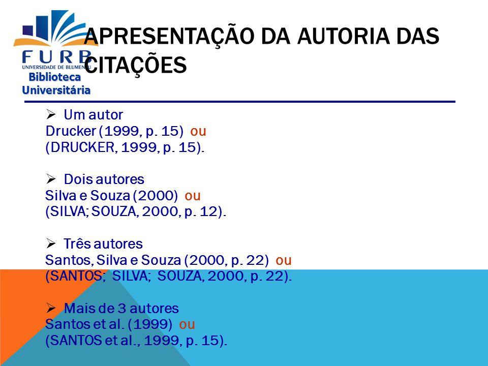 APRESENTAÇÃO DA AUTORIA DAS CITAÇÕES