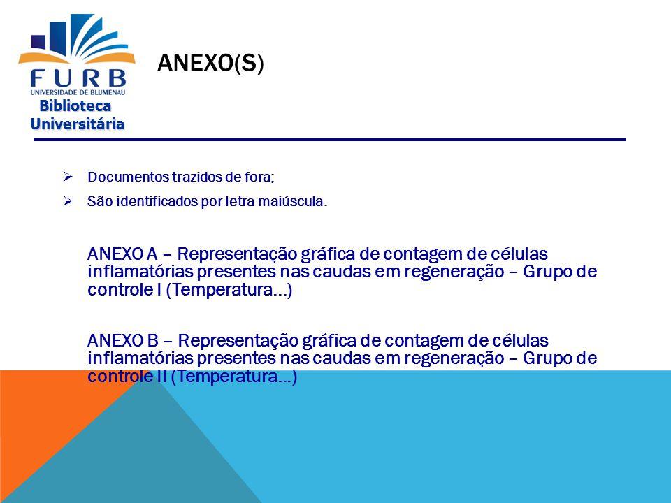 Anexo(s) Documentos trazidos de fora; São identificados por letra maiúscula.