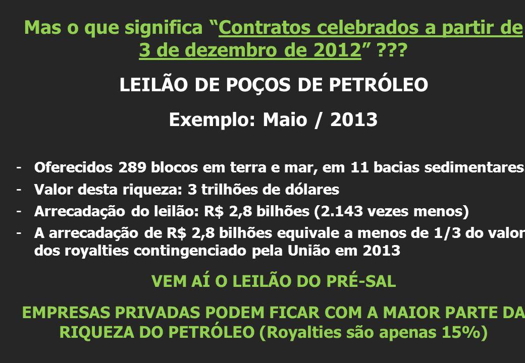 LEILÃO DE POÇOS DE PETRÓLEO Exemplo: Maio / 2013