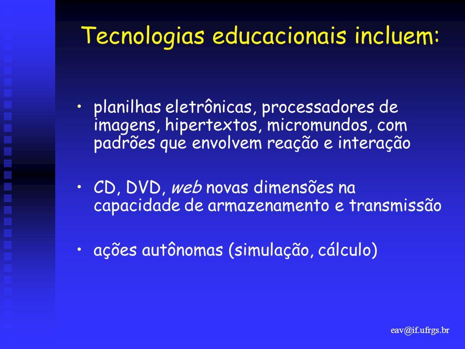 Tecnologias educacionais incluem:
