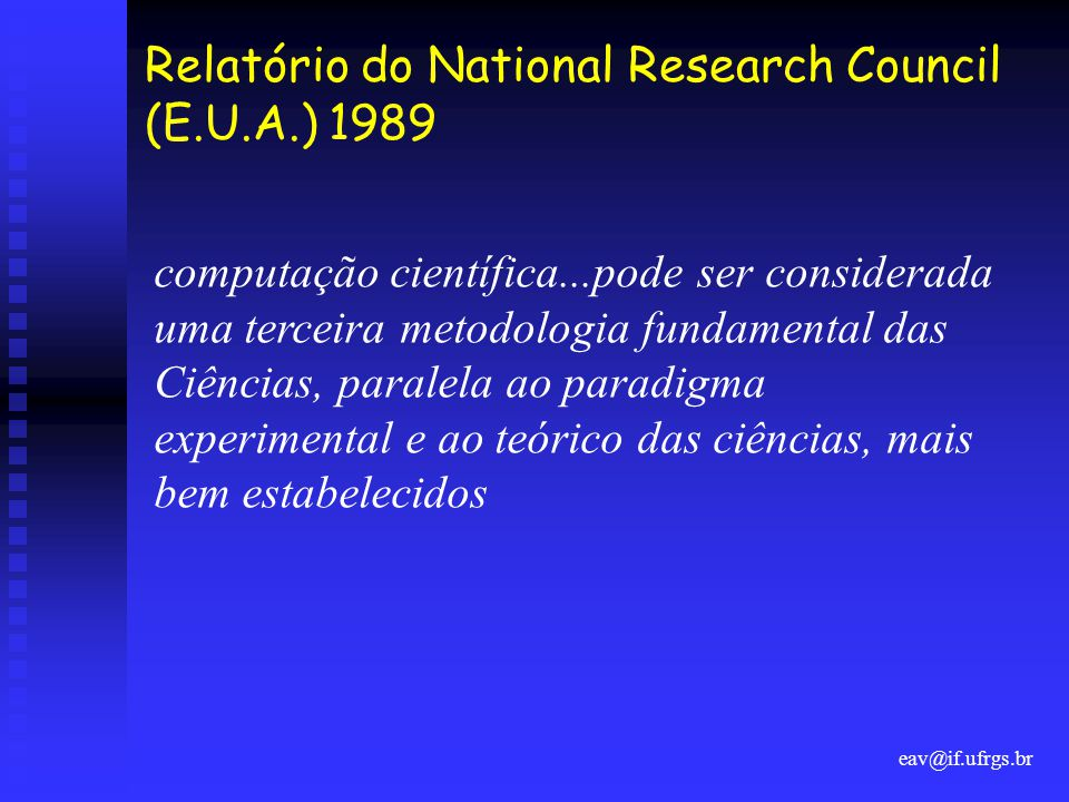 Relatório do National Research Council (E.U.A.) 1989