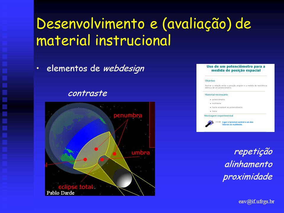 Desenvolvimento e (avaliação) de material instrucional