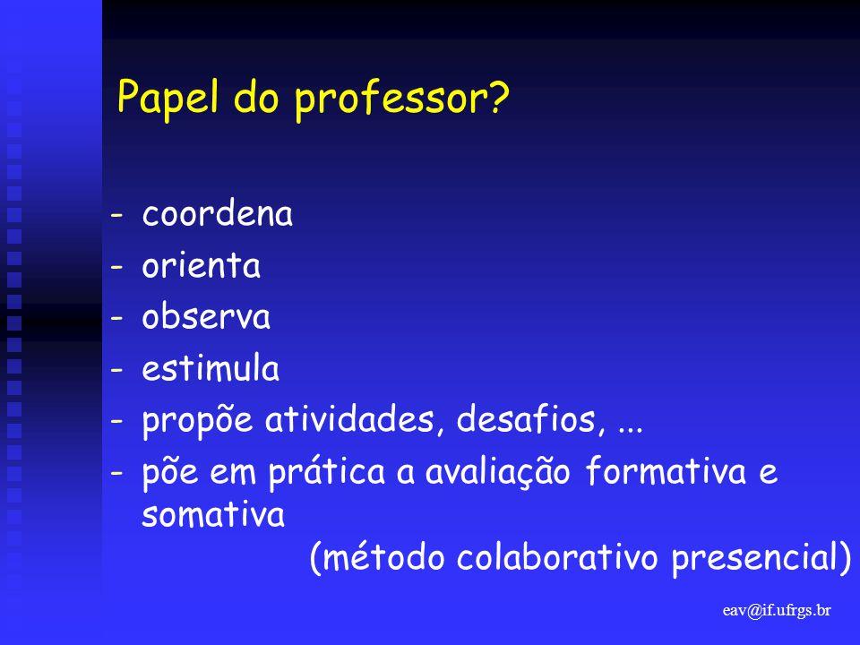 Papel do professor coordena orienta observa estimula