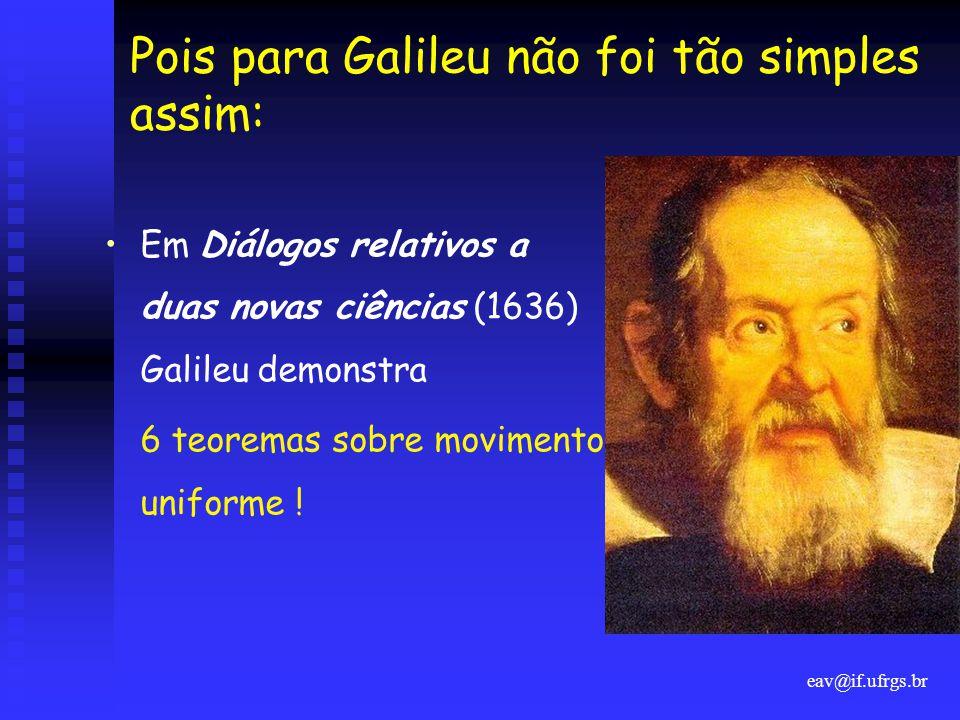 Pois para Galileu não foi tão simples assim: