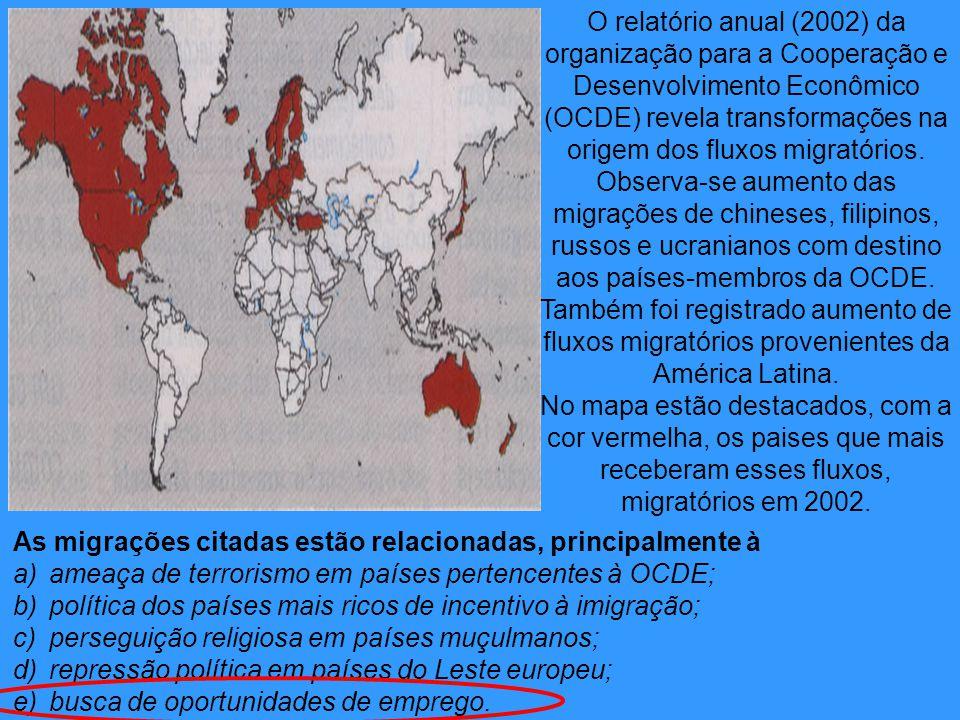 O relatório anual (2002) da organização para a Cooperação e Desenvolvimento Econômico (OCDE) revela transformações na origem dos fluxos migratórios. Observa-se aumento das migrações de chineses, filipinos, russos e ucranianos com destino aos países-membros da OCDE. Também foi registrado aumento de fluxos migratórios provenientes da América Latina. No mapa estão destacados, com a cor vermelha, os paises que mais receberam esses fluxos, migratórios em 2002.
