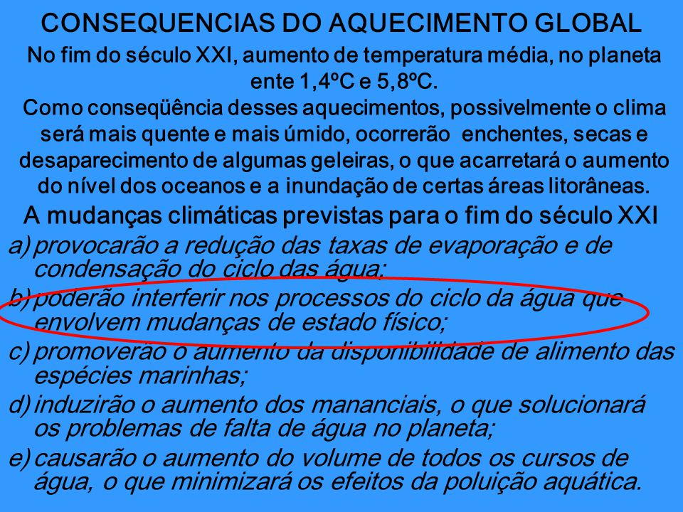 CONSEQUENCIAS DO AQUECIMENTO GLOBAL