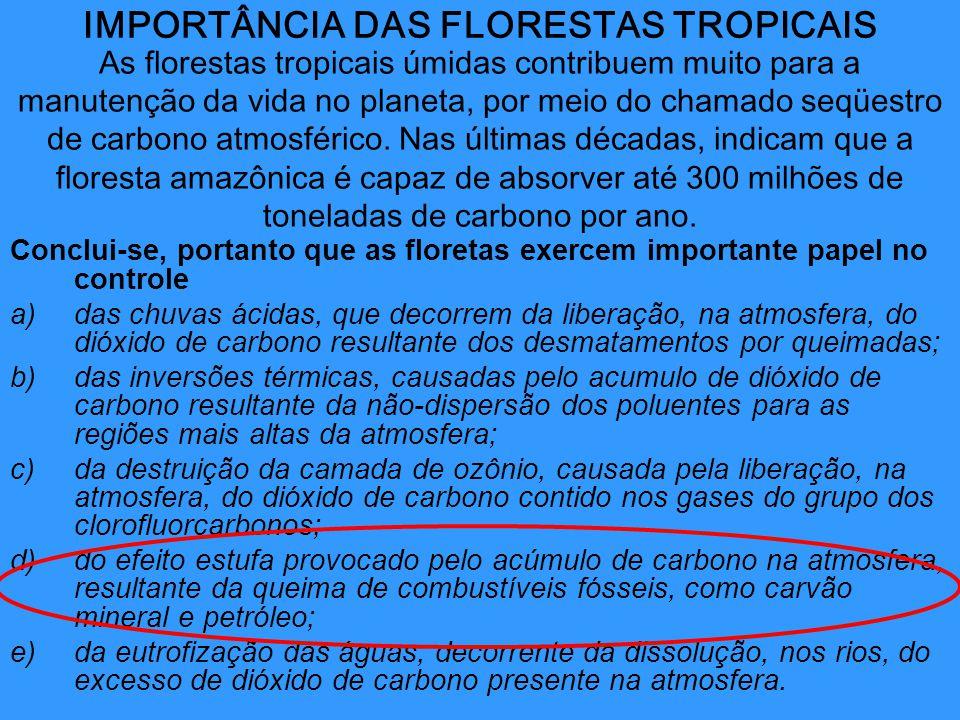 IMPORTÂNCIA DAS FLORESTAS TROPICAIS