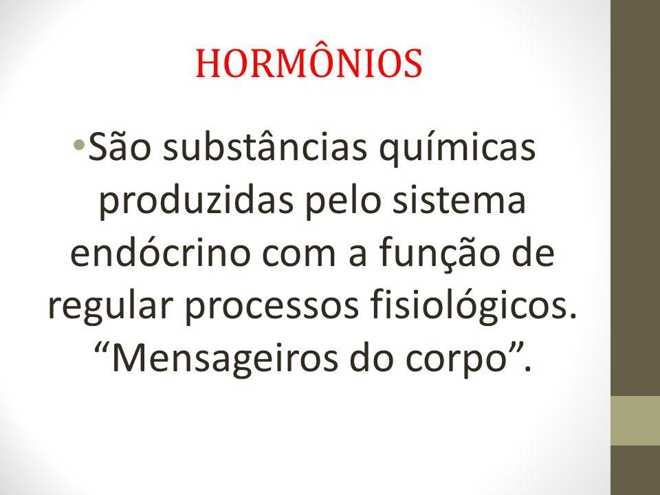 HORMÔNIOS São substâncias químicas produzidas pelo sistema endócrino com a função de regular processos fisiológicos.
