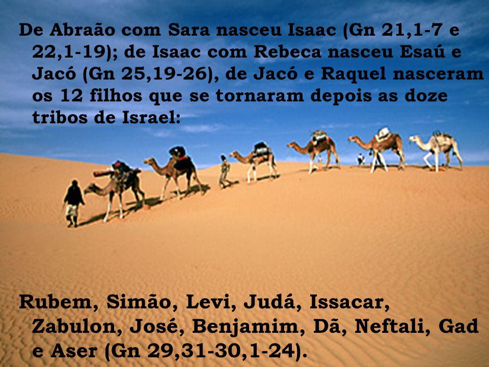 De Abraão com Sara nasceu Isaac (Gn 21,1-7 e 22,1-19); de Isaac com Rebeca nasceu Esaú e Jacó (Gn 25,19-26), de Jacó e Raquel nasceram os 12 filhos que se tornaram depois as doze tribos de Israel: