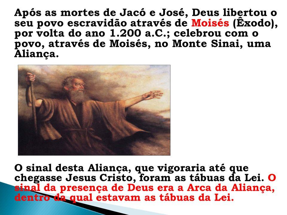 Após as mortes de Jacó e José, Deus libertou o seu povo escravidão através de Moisés (Êxodo), por volta do ano 1.200 a.C.; celebrou com o povo, através de Moisés, no Monte Sinai, uma Aliança.