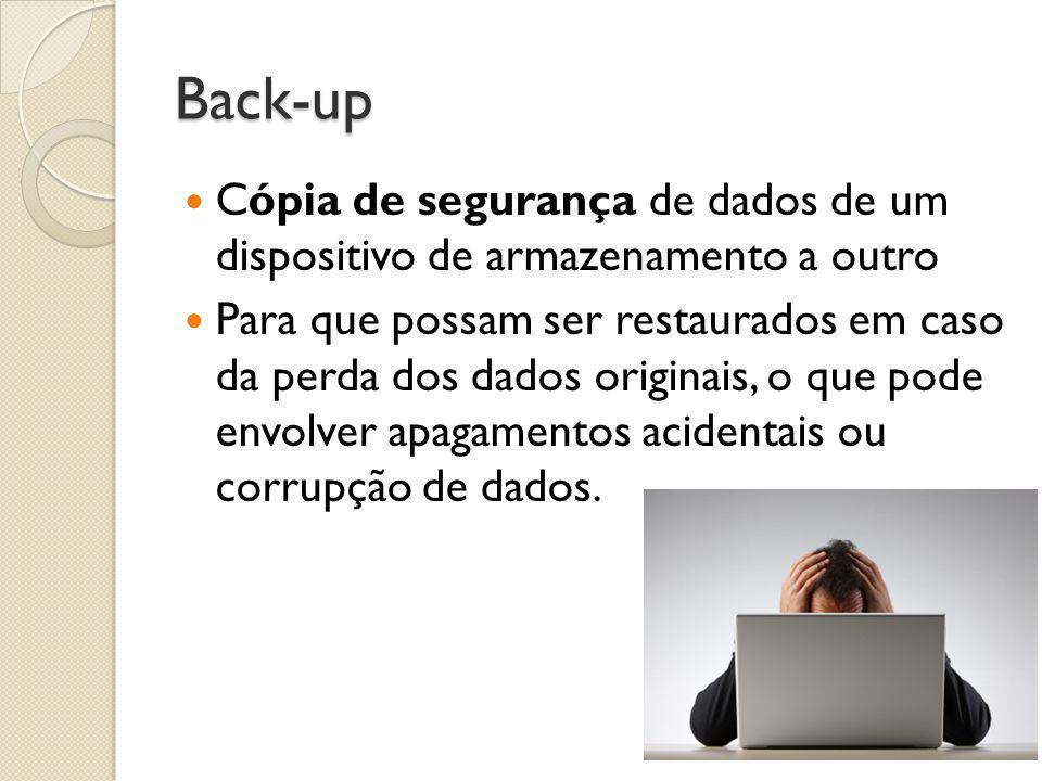 Back-up Cópia de segurança de dados de um dispositivo de armazenamento a outro.