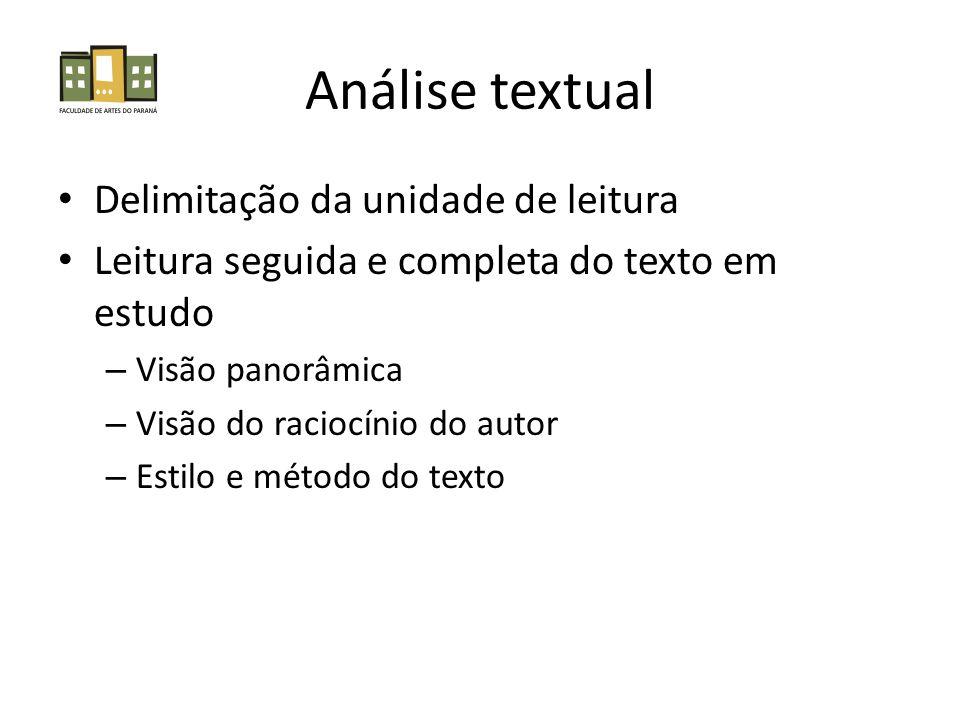 Análise textual Delimitação da unidade de leitura