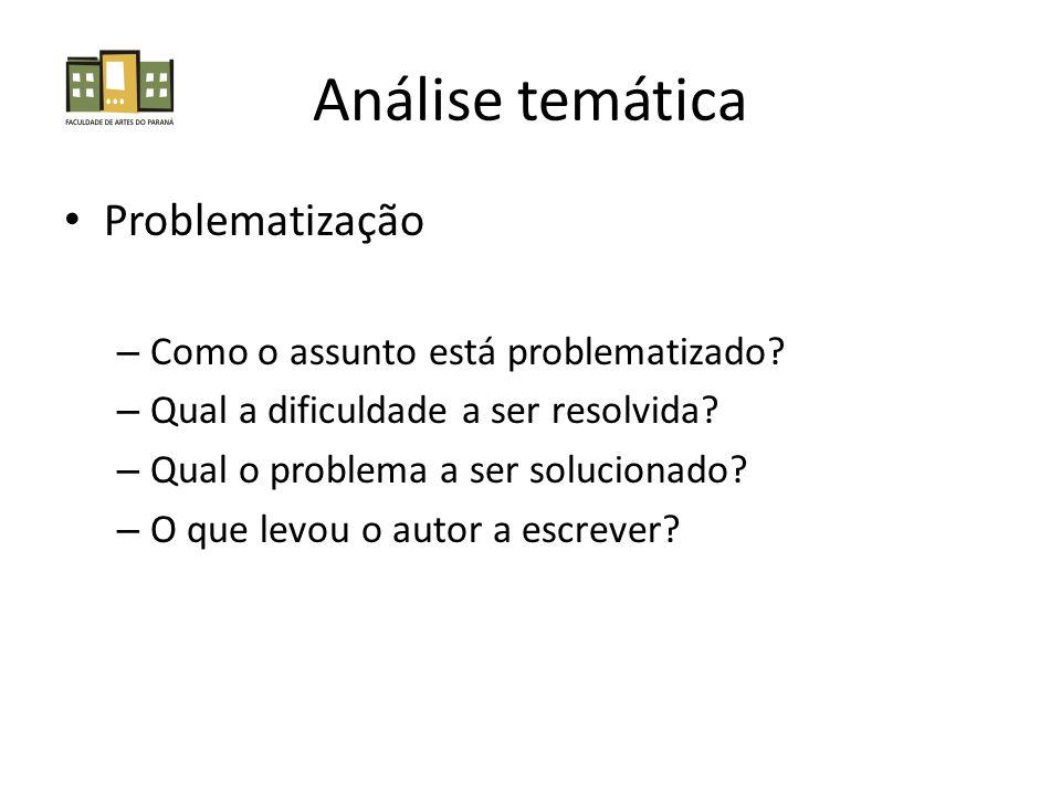Análise temática Problematização Como o assunto está problematizado