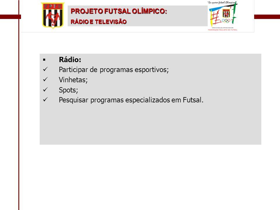 Participar de programas esportivos; Vinhetas; Spots;