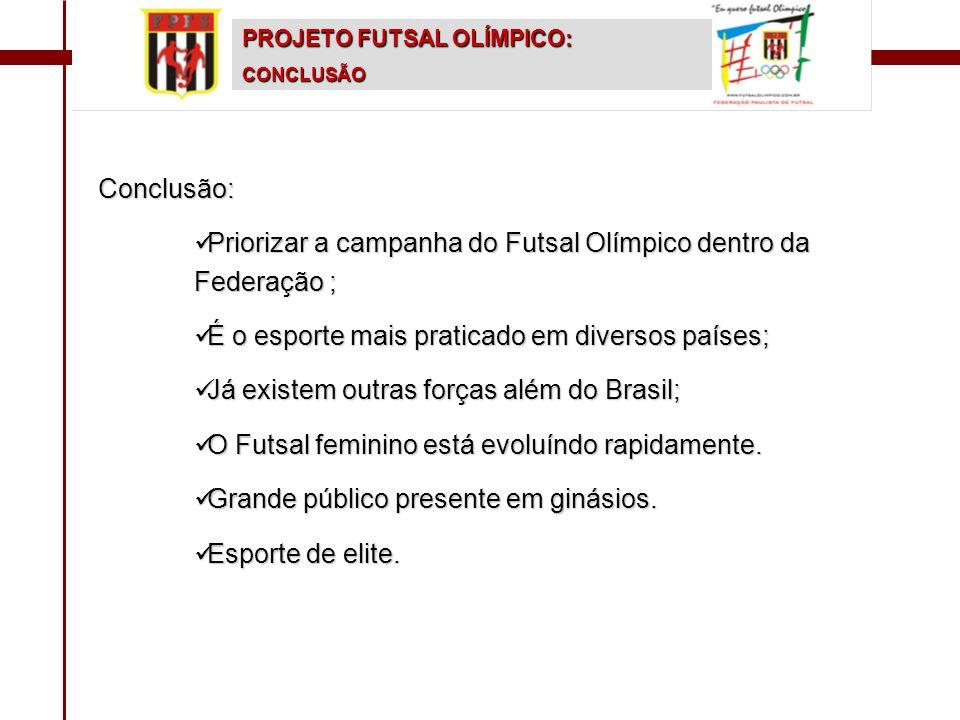 Priorizar a campanha do Futsal Olímpico dentro da Federação ;