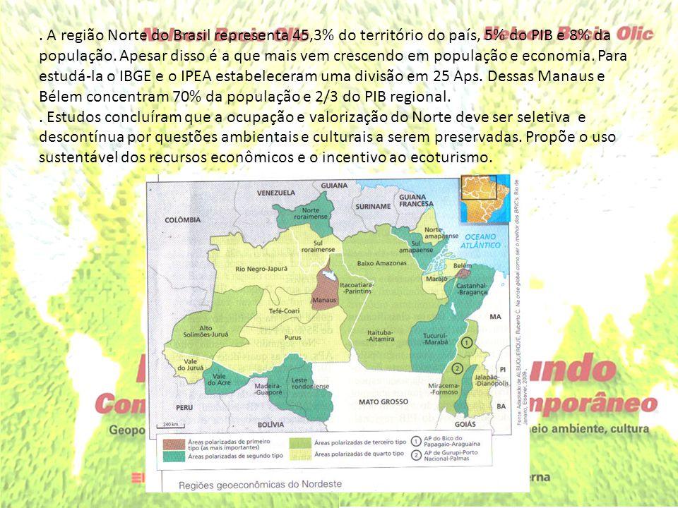 . A região Norte do Brasil representa 45,3% do território do país, 5% do PIB e 8% da população. Apesar disso é a que mais vem crescendo em população e economia. Para estudá-la o IBGE e o IPEA estabeleceram uma divisão em 25 Aps. Dessas Manaus e Bélem concentram 70% da população e 2/3 do PIB regional.