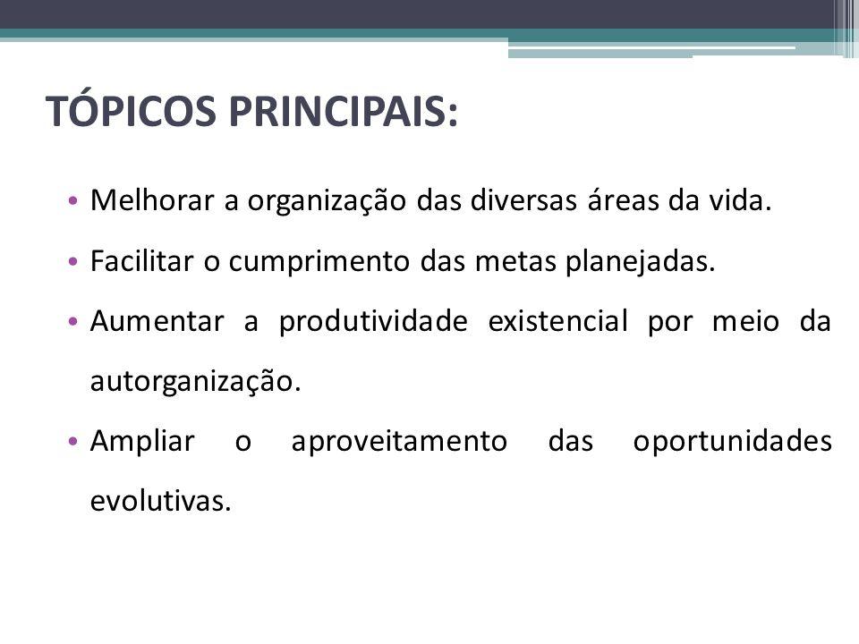 TÓPICOS PRINCIPAIS: Melhorar a organização das diversas áreas da vida.
