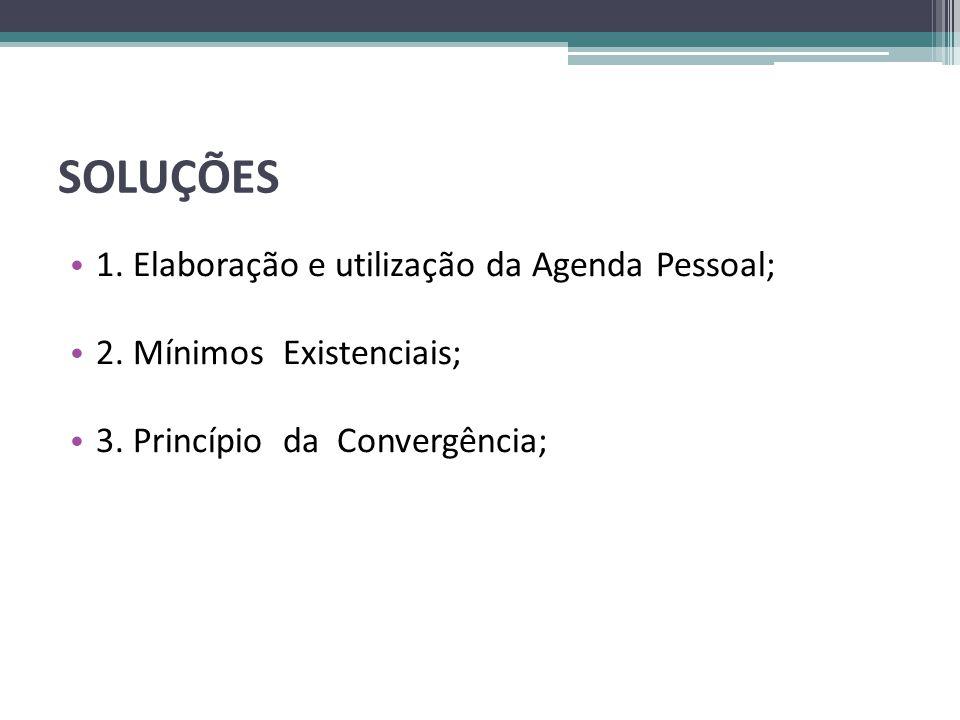 SOLUÇÕES 1. Elaboração e utilização da Agenda Pessoal;