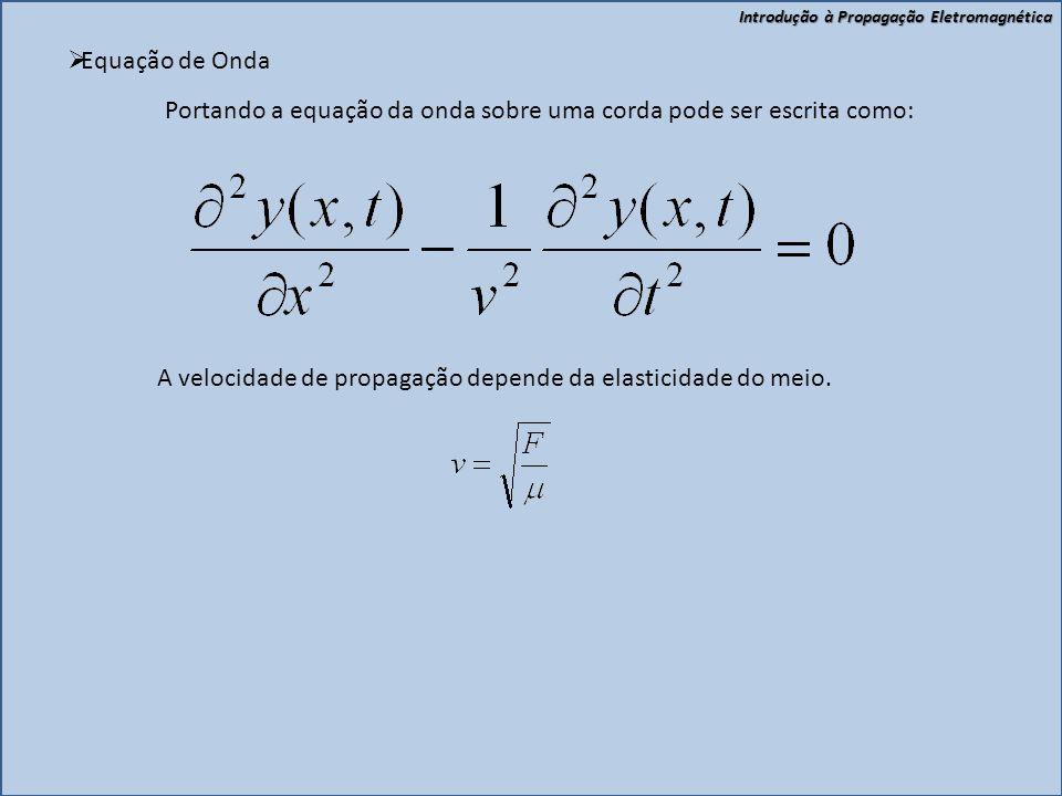 Equação de Onda Portando a equação da onda sobre uma corda pode ser escrita como: A velocidade de propagação depende da elasticidade do meio.