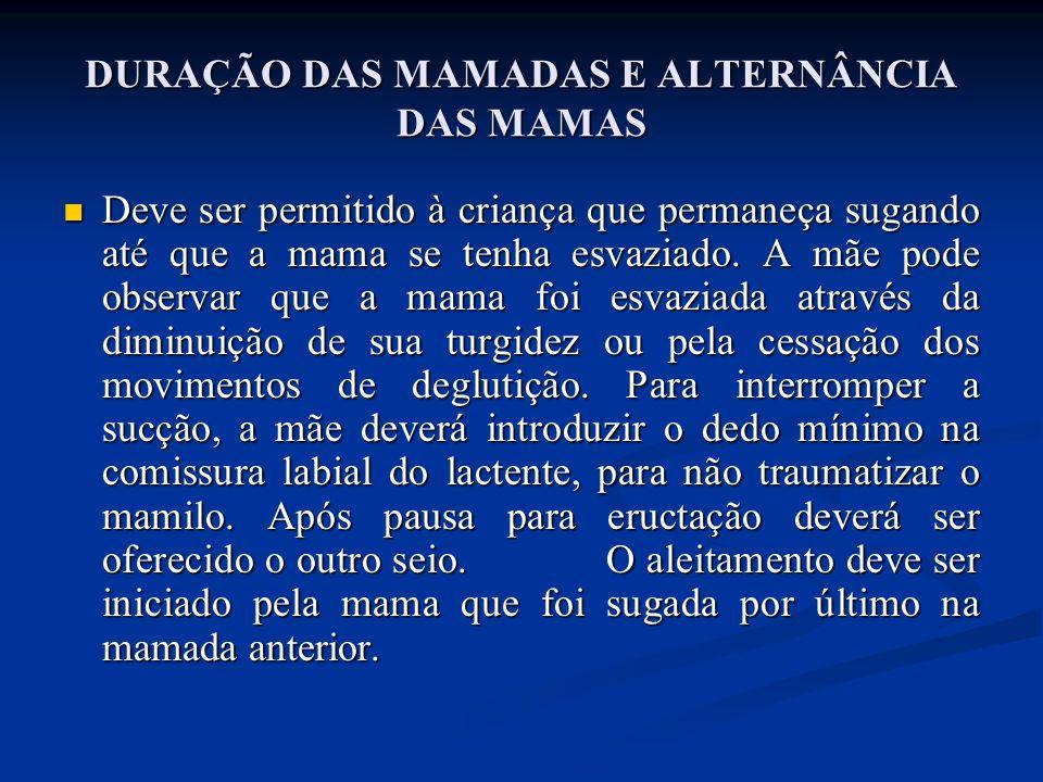 DURAÇÃO DAS MAMADAS E ALTERNÂNCIA DAS MAMAS