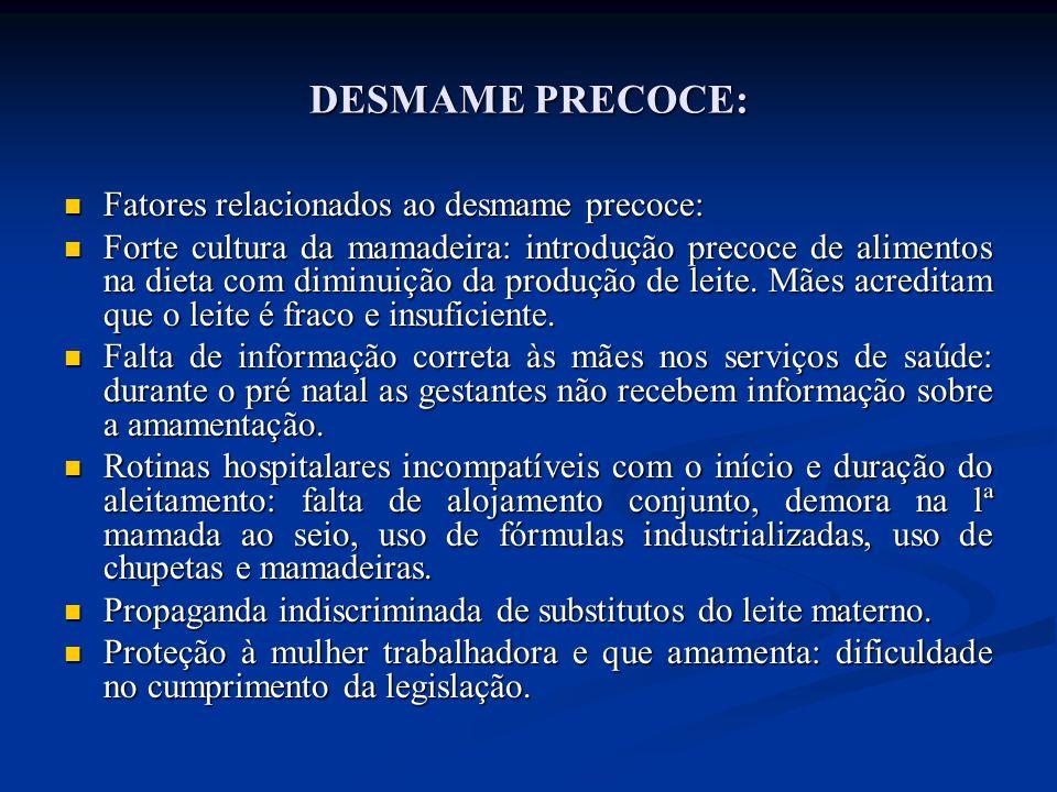 DESMAME PRECOCE: Fatores relacionados ao desmame precoce: