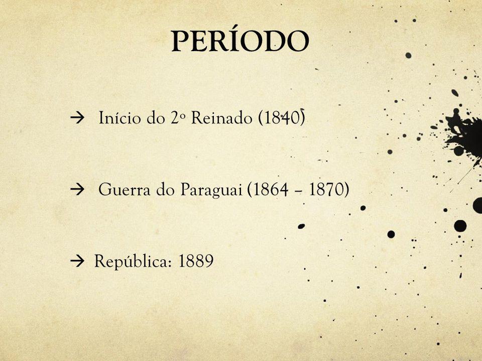 PERÍODO Início do 2º Reinado (1840) Guerra do Paraguai (1864 – 1870)