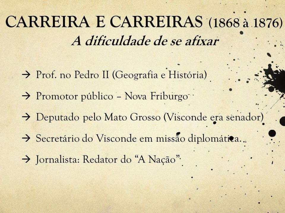 CARREIRA E CARREIRAS (1868 à 1876) A dificuldade de se afixar