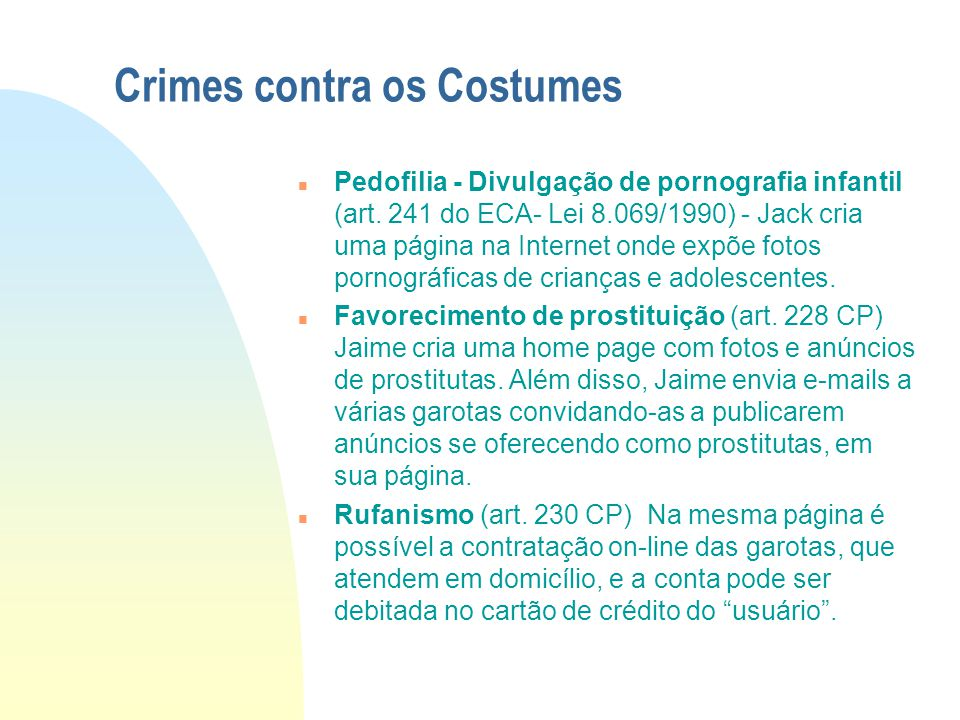 Crimes contra os Costumes