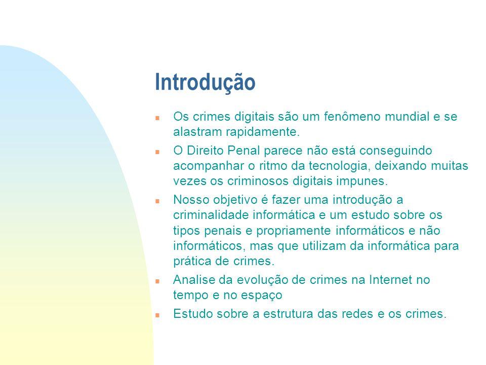 Introdução Os crimes digitais são um fenômeno mundial e se alastram rapidamente.
