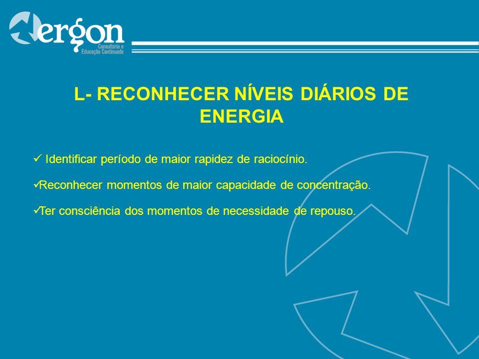 L- RECONHECER NÍVEIS DIÁRIOS DE ENERGIA