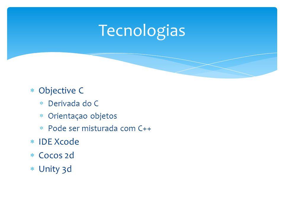 Tecnologias Objective C IDE Xcode Cocos 2d Unity 3d Derivada do C