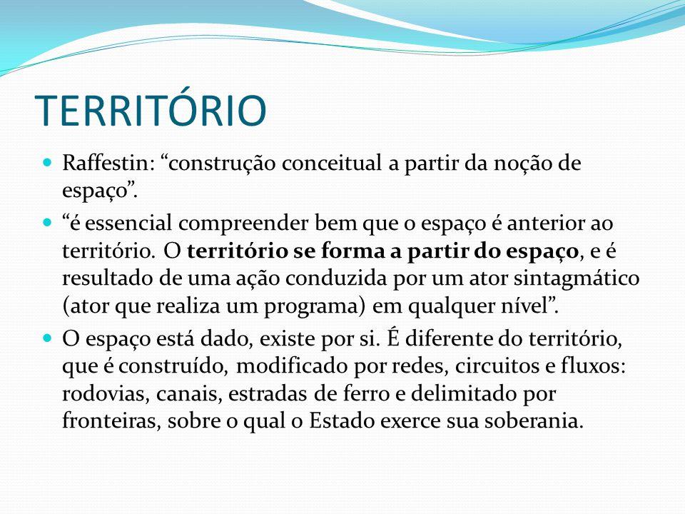 TERRITÓRIO Raffestin: construção conceitual a partir da noção de espaço .