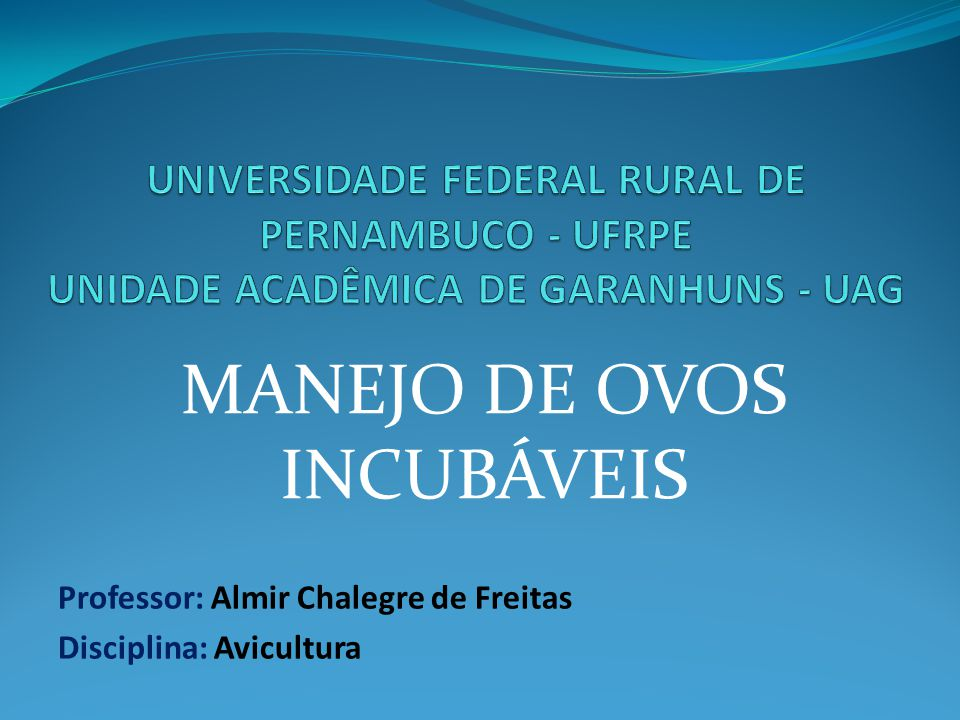 Professor: Almir Chalegre de Freitas Disciplina: Avicultura