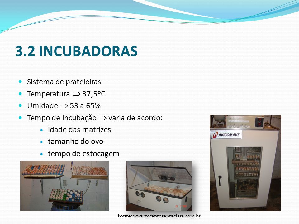 3.2 INCUBADORAS Sistema de prateleiras Temperatura  37,5ºC