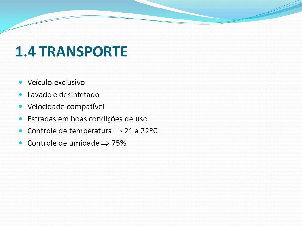 1.4 TRANSPORTE Veículo exclusivo Lavado e desinfetado
