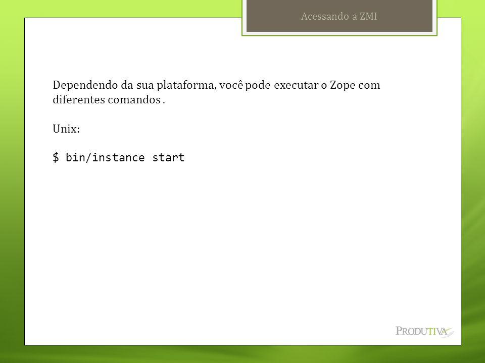 Acessando a ZMI Dependendo da sua plataforma, você pode executar o Zope com diferentes comandos . Unix: